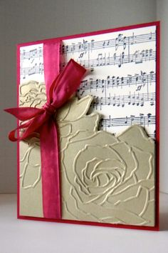 All supplies Stampin' Up! Manhattan Flower embossing folder, Music Notes roller wheel.