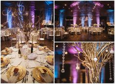 By Alexis Sweet Photography- dramatic pink and blue up lighting makes this wedding reception pop. Spray painted gold twigs and chargers highlight hanging candle lights and crystals. A monogram is shown on the back wall to give a formal atmosphere. Charles h Morris center, savannah, ga.