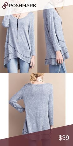 JOSIE loose fit solid tunic top - NAVY SO SOFT & flowy KNIT TUNIC . SWING SILHOUETTE With overlap design.   Fabric 95%rayon, 5%spandex   AVAILABLE IN LIGHT GREY & NAVY TONE  Made in USA   NO TRADE, Price firm Bellanblue Tops