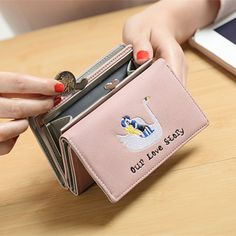 YOUYOU MOUSE Korean Style New Style Wallet Cartoon Embroidery Pattern Purse Short Section PU Leather 3 Fold Multifunction Wallet #Affiliate