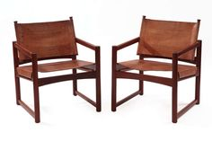 Rare Imbuia & Leather Sling Chairs by Michel Arnoult image 2