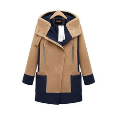 Plus Size Turn Down Color Splicing Long Wool Coat - Oh Yours Fashion - 3