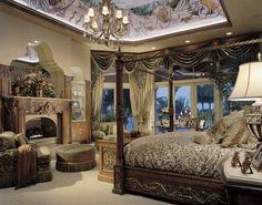 Tuscan style – Mediterranean Home Decor Dream Bedroom, Home Bedroom, Bedroom Decor, Master Bedrooms, Luxury Decor, Luxury Interior, Interior Design, Tuscan Bedroom, Tuscan Style Bedrooms