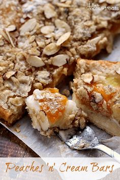 Peaches n Cream Bars ~ Flaky Crescent Rolls Layered with Cream Cheese ...