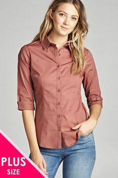 Plus 3/4 Sleeve Button Collar Shirt