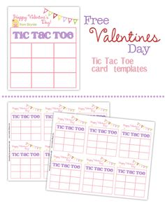 Free Valentines Day tic tac toe cards