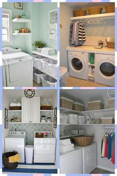 Laundry room needs--folding shelf with storage for at least six laundry baskets underneath. Storage for detergents, fabric sheets, garbage can, etc.  Sink.  Pull-down ironing board (optionally attached to wall--can easily remove if needed)Closet rod--not too high off ground, so even little ones can reach it.  Possibly a utility closet to store vacuum, brooms, cleaning items.