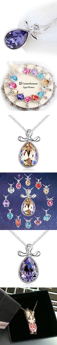 2017 New Twelve Zodiac Sign Libra Crystal Necklace Women 12 Constellations Pendant Jewelry
