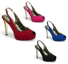 "4 1/2"" Heel w/ Gold Inner Accent 3/4"" Platform Satin Peep Toe Adjustable Slingback Sandal - Each Pair"