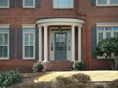 New ideas red brick house front door colors traditional exterior Brick Paint Colors, Exterior Paint Colors, Exterior House Colors, Exterior Shutter Colors, Colonial Exterior, Traditional Exterior, Paint Colours, Stain Colors, Shutters Brick House