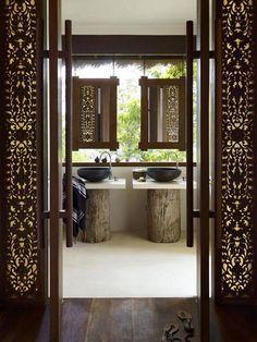 25 Best Asian Bathroom Design Ideas - modern bathroom design in asian style - Asian Bathroom, Open Bathroom, Bathroom Vanities, Balinese Bathroom, Wood Bathroom, Tropical Bathroom, Bathroom Ideas, Tranquil Bathroom, Bohemian Bathroom