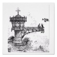 Fantasy Flying Machines Wall Art  An unusual series of vintage illustrations featuring fantastic flying machines. In black and white, these illustrations would complement any decor and are sure to attract attention. This particular piece shows a futuristic yet very ornate airport departure gate with two people watch a strange flying contraption in the sky