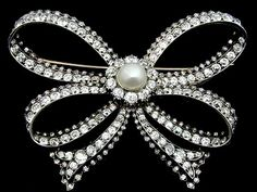 Antique Silver Gold Pearl & Diamond Bow Brooch.