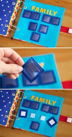 The turquoise page has squares that make up three generations of a family tree. The squares velcro onto the page to help learn about your family.  Each square is a pocket made of felt and clear vinyl so you can insert your own family pictures into them!  The last generation line can fit up to four children.