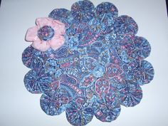 Blue paisley yo yo mat with pink eyelet flowerpenny by SursyShop, $11.00