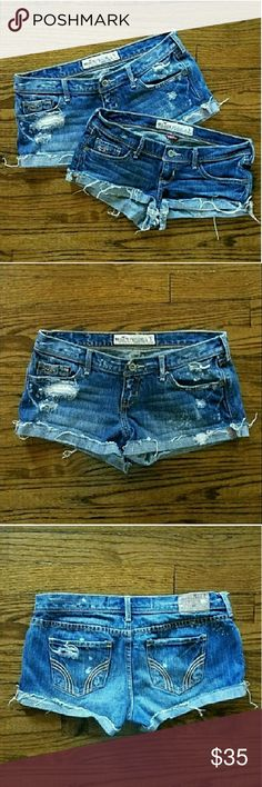 """Hollister blue jean shorts bundle size 3 Two pairs of Hollister blue jean shorts. First pair is distressed, folded bottom cuff. Measurements are approx 30"""" waist, 2.25"""" inseam and 7"""" rise.  Second pair has distressed folded bottom cuff. Measurements are approx 30"""" waist, 1"""" inseam, 6"""" rise. Both excellent used condition. Hollister Shorts Jean Shorts"""