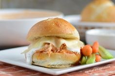 Instant Pot Buffalo Chicken Sliders made with pulled chicken, provolone cheese and ranch dressing are perfect for a quick and easy dinner or game day party! Buffalo Chicken Cups, Shredded Buffalo Chicken, Buffalo Chicken Sliders, Buffalo Chicken Recipes, Pulled Chicken, Bbq Chicken, Hot Beef Sandwiches, Instant Pot, Pork Shoulder Roast