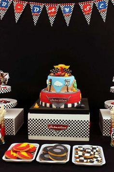 Cars birthday party cake and cookies! See more party planning ideas at… Car Themed Parties, Cars Birthday Parties, 3rd Birthday, Birthday Ideas, Disney Cars Party, Disney Cars Birthday, Car Party, Hot Wheels, Car Themes