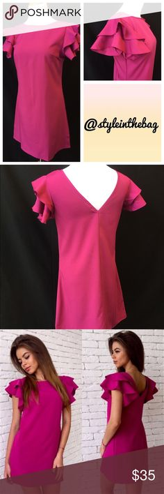 "$15 DEALS• S,M,L,XL Ruffle Shoulder Party Dress New in package. Adorable dress you can dress up or down. Shoulder ruffles with flattering V back style. Polyester/spandex blend. Bundle and save! Yes to offers and bundle discounts! Color is a pink with a hint of fuchsia. Fabric darts in each side of bust. I am a size 6 and wearing a medium in the first pic. Small: armpit to armpit 16"", 31.5"" long.  Medium: armpit to armpit 17.25"", 32"" long.  Large: armpit to armpit 18.5"", 33.5"" long.  X-Large…"