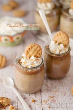 Chocolate Peanut Butter Pots de Creme: 6 ounces creamy peanut butter, 3 ounces (90 grams) milk chocolate, chopped, 1 egg, 4 egg yolks, 1 1/2 cups (375 ml) heavy cream, 1 cup (250 ml) milk, 1/3 cup (grams) granulated sugar.