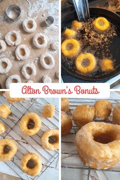 How to Make Bonuts - Biscuit Doughnuts from Alton Brown's Good Eats Reloaded. Also ideas for additional flavors including strawberry! Alton Brown Donut Recipe, Brown Recipe, Donut Recipes, Dessert Recipes, Desserts, Breakfast Recipes, Biscuit Donuts, Doughnuts, Deep Fried Donuts