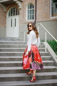 white blouse with bright floral print skirt and red heels on M Loves M Los Angeles fashion blogger @Mara Ferreira