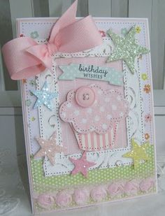 annettes paper bistro- little girls birthday card, can easily be made into a little girls baby card.: