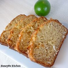 coconut banana bread with a lime glaze. PERFECT summer treat.