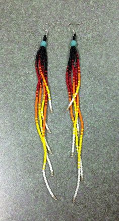 Native American Black, Multi Colored Beaded Earrings - wondering how this would work with wire and larger beads. Seed Bead Jewelry, Wire Jewelry, Jewelry Crafts, Beaded Jewelry, Jewlery, Beaded Bracelet, Jewelry Findings, Diy Seed Bead Earrings, Jewelry Ideas