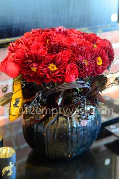 Red roses and dahlias.