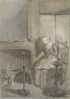 Louis Aubert | Interieur met een wolkluwende jonge vrouw, Louis Aubert, 1746 | In een interieur met open haard en kamerscherm zit een jonge vrouw wol op een kluwen te draaien. Naast haar een brandende kaars in kandelaar op rond tafeltje. Ze is gekleed als dienstbode of draagt burgerlijke kleding ca. 1746. Mutsje met strikje op het hoofd.