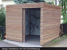 Exklusives Gartenhaus mit Schiebetür The most beautiful picture for wooden home decor , that suits y Garden Cabins, Modern Shed, Modern Carport, Bike Shed, Garden Buildings, Shed Storage, Bike Storage, Outdoor Living, Outdoor Decor