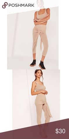 Missguided New ! nude two piece set Very cute two peace set (legging +crop top) New without tags. Missguided Pants Leggings