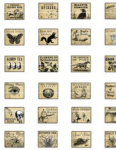 Miniature Dollhouse Fantasy Potion Labels II digital collage sheet for tiny witch or fairy dolls jewelry bottles 1:12 scale 1/12 scale. $4.50, via Etsy.