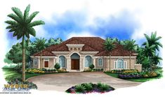 Mediterranean House Plan: 1 Story Coastal Waterfront Home Floor Plan