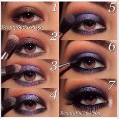 Beautiful Use Of Purple And Brown To Create Smokey Eyes