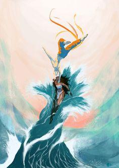Katara and Aang Stretched Canvas