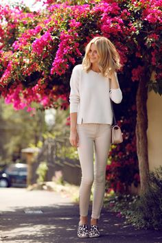 Lust for Leather - Jessica wearing a Brand Leather Super Skinny Pants and Helena Sweater, Chanel Bag and Seed Espadrilles.