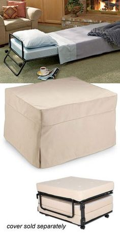 This is such a great idea! Fold-Out Ottoman Bed Hide a guest bed in plain sight! Ottoman by day...bed by night.