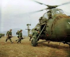 Members of the 1st Battalion 3rd Marines Regiment board a CH-34 Choctaw helicopter to be flown to position held by the 3rd Battalion 9th Marines. April 7th,1965.