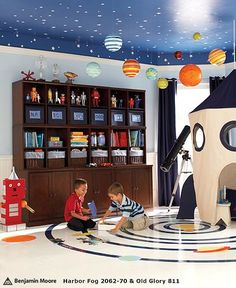 Kids Playrooms: Designing Creative and Fun Rooms for Kids...space theme...love!