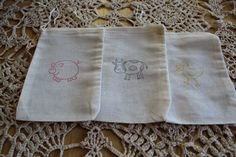 Set of 12  Hand stamped Barn Yard Animals Muslin Gift Party Favor Bags 100% organic made in america