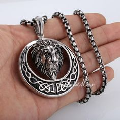 Lion Celtic Knot Silver Tone 316 L Stainless Steel Pendant Necklace