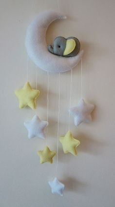 Sleepy elephant Moon and stars nursery decor ( white, grey, pastel yellow) in Baby, Nursery Decoration & Furniture, Mobiles | eBay!