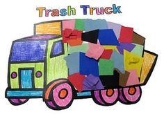 Trash truck tissue craft