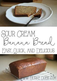 Easy Sour Cream Banana Bread Recipe! Quick and Delicious. This is so easy to make!