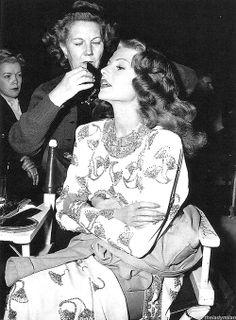 Rita Hayworth on the set of Gilda, 1946.
