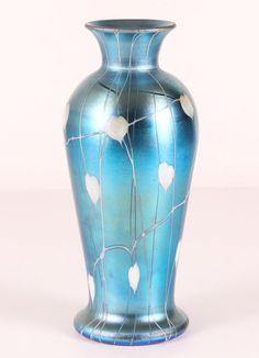 Durand Bleeding Heart Iridescent Art Glass Vase 1910