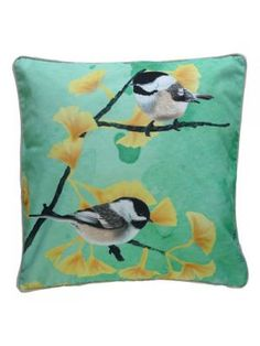 Items similar to Cushion cover for throw pillow with bird - Chickadees mint - // on Etsy Bird Pillow, Home Living, Pillow Talk, Home Gifts, Pillow Inserts, Floor Pillows, Decorative Throw Pillows, Chickadees, Organic Cotton