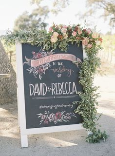 Rustic romantic chalkboard wedding sign: Photography: Jen Huang - http://jenhuangphoto.com/